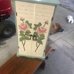 Handpainted wood miniature cabinet